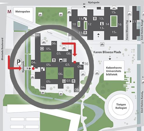 Kort over fakultetet - Søndre Campus