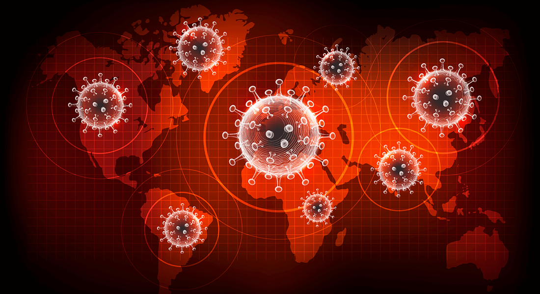 Corona virus - verdenskort